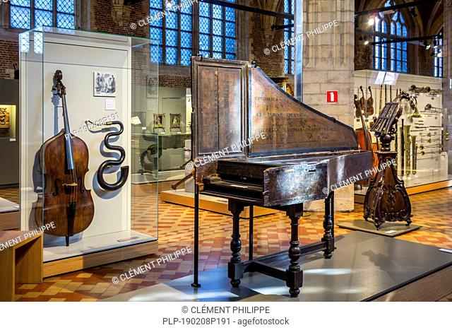 17th century harpsichord by Andreas Ruckers in the Vleeshuis / Butcher's Hall / Meat House, museum about musical instruments in Antwerp, Belgium