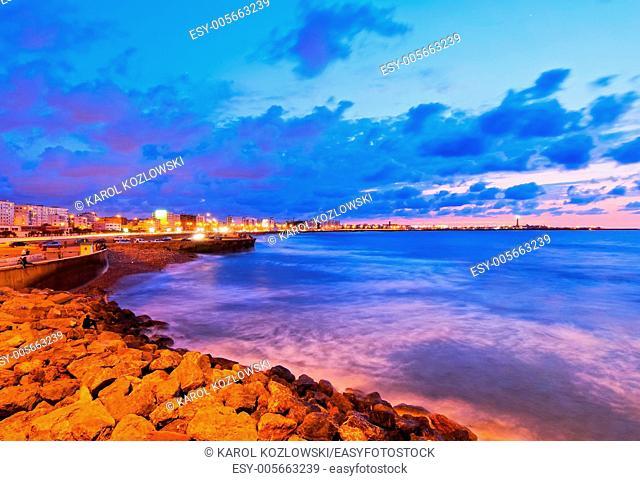 Coastline of Casablanca during sunset in Morocco, Africa