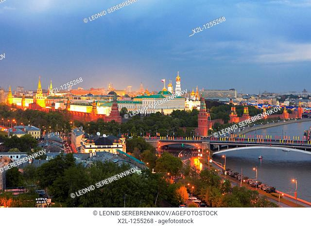 The Moskva river and the Kremlin at night  Moscow, Russia