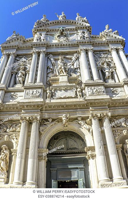 Santa Maria Giglio Zobenigo Church Baroque Facade Venice Italy. Founded in the 9th Century Rebuilt in 1600s