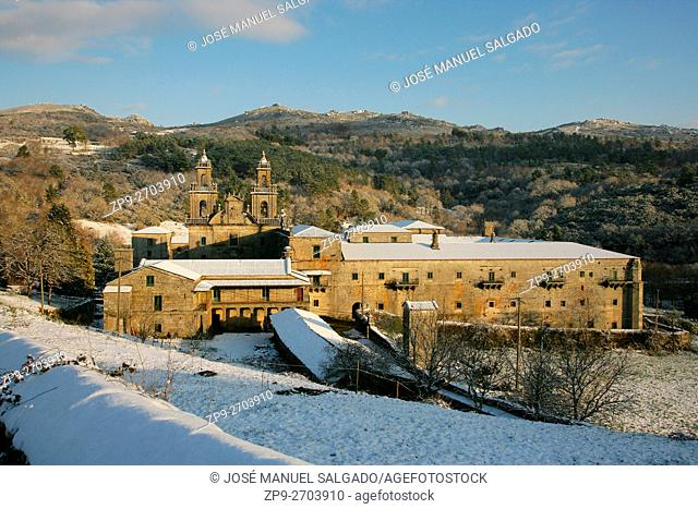 Monastery of Oseira in winter covered by the snow