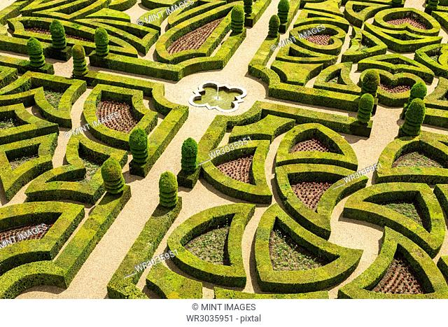 High angle view of parterre in the formal gardens of a baroque chateau