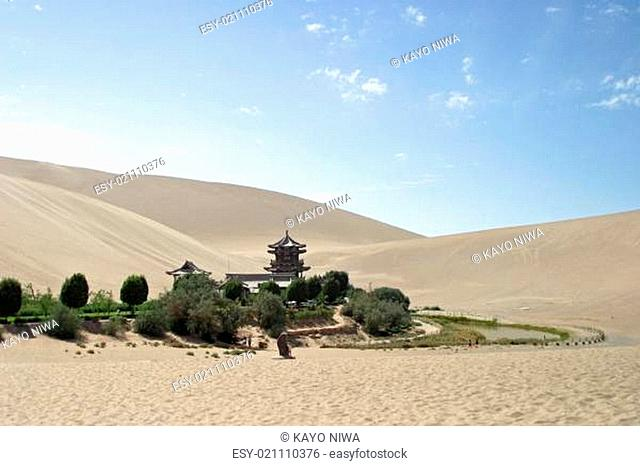 Crescent lake in Mingsha Shan, Dunhuang, China