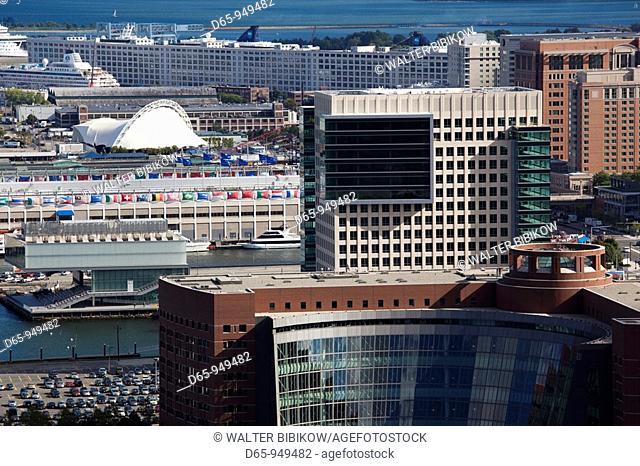 USA, Massachusetts, Boston, South Boston waterfront, high angle view