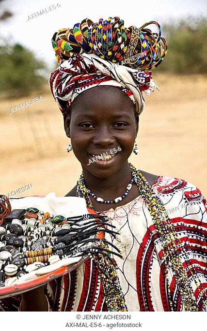 Portrait of girl selling jewelry
