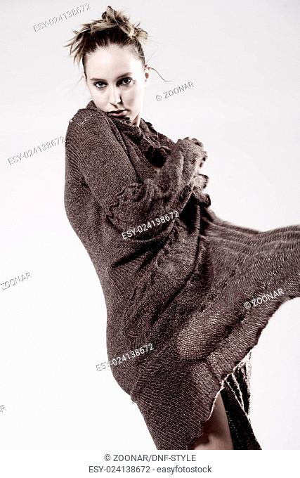 High fashion model posing fragile