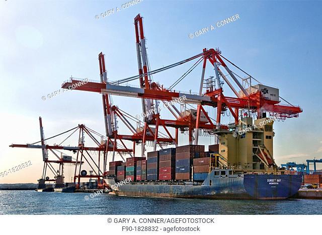 Crane load containers-port-Yokohama-Japan