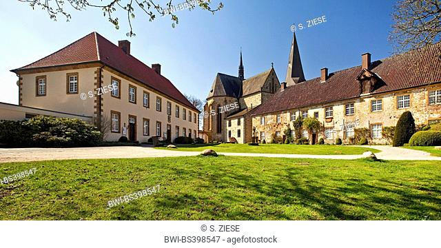 Cloister of the Order of Saint Benedict in Herzebrock with minster Saint Christina, Germany, North Rhine-Westphalia, East Westphalia, Herzebrock-Clarholz