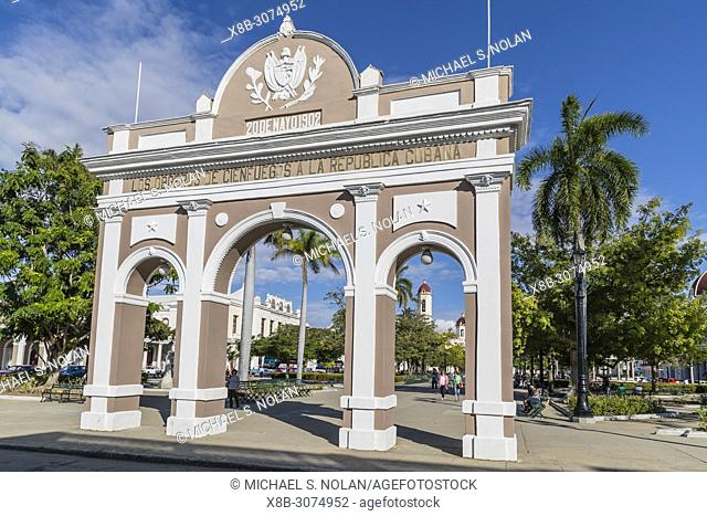 The Arco de Triunfo replica in Parque José Martí in the city of Cienfuegos, Cuba
