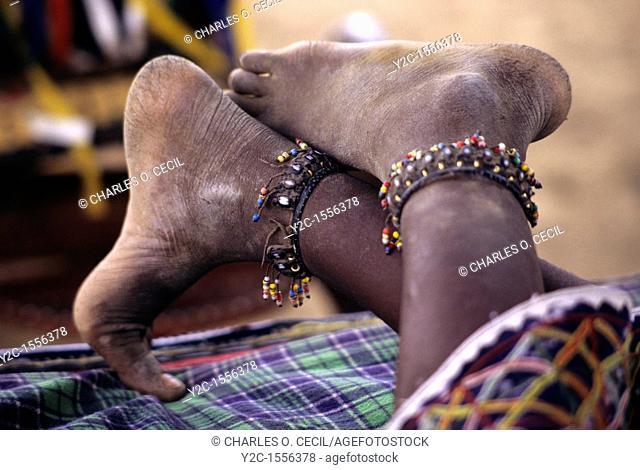 Akadaney, Central Niger, West Africa  Fulani Nomads  Girl's Feet with Ankle Bracelets