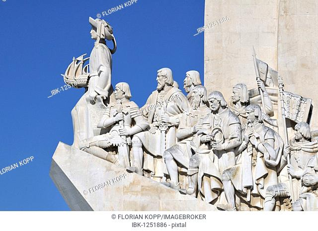 Monument to the Discoveries, Padrao dos Descobrimentos, with great people of the Portuguese seafaring history, on the estuary of the Tagus river, Belem, Lisbon