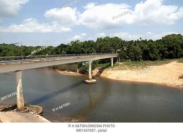 Bridge on tunga river in Sringeri at Karnataka India Asia