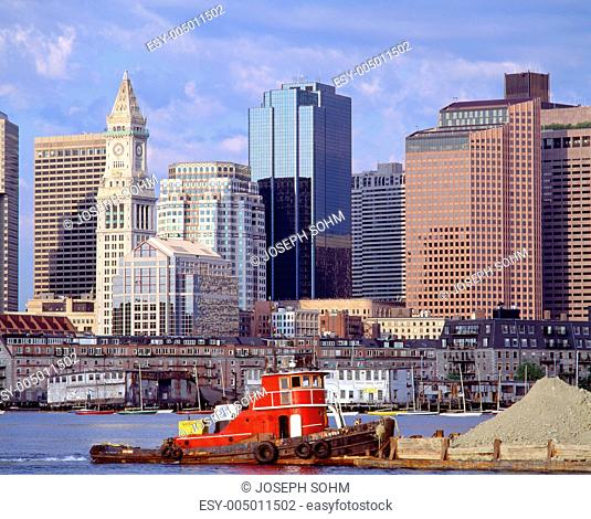 Tugboat and Boston Skyline, Massachusetts