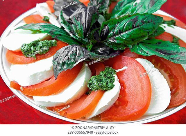 vegetables salad with tomatos and mozzarella