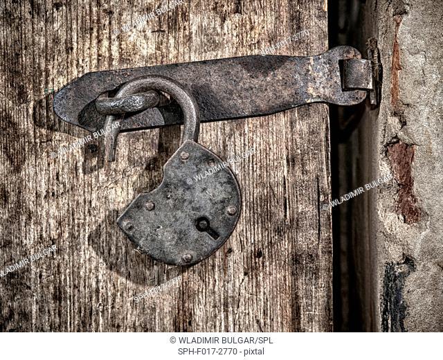 Metal padlock on wooden door