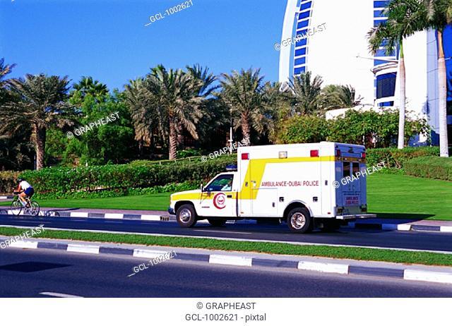 Ambulance in front of Burj Al Arab hotel in Dubai, United Arab Emirates