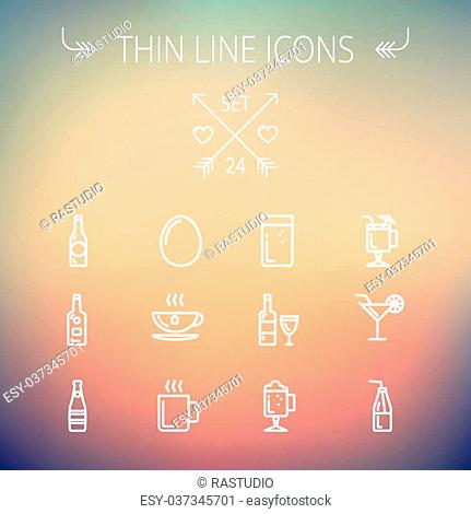 Food and drink thin line icon set for web and mobile. Set includes- soda, wine, whisky, coffee, hot choco, beer, ice tea, egg icons