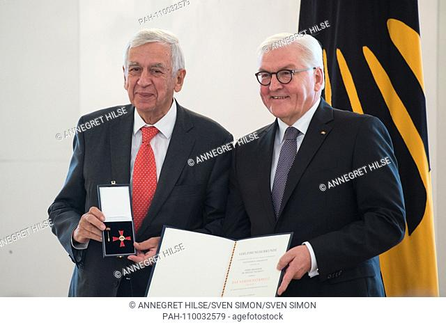 Federal President Frank-Walter STEINMEIER hands over the Order of Merit to Prof. Dr. med. Michael NAUMANN (Hamburg, State Minister of Culture) Honor and award...