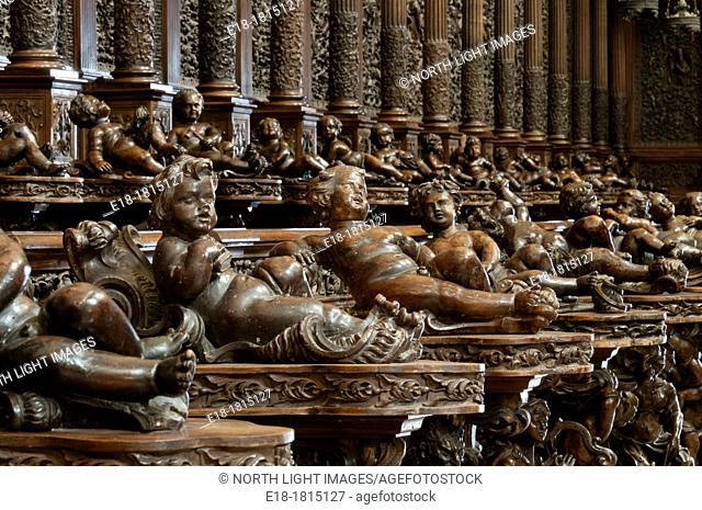 Italy, Lazio, Cassino  Elaborately carved choir seats  The Cathedral in the abbey of Monte Cassino  Destroyed by allied bombing in World War II