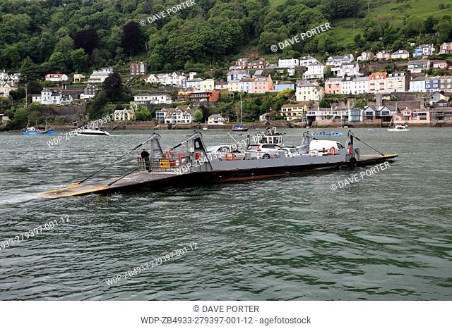 Lower car ferry, River Dart, Kingswear village, Devon County, England, UK