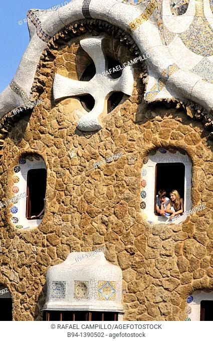 Park Güell. Garden complex with architectural elements situated on the hill of el Carmel. Designed by the Catalan architect Antoni Gaudí and built in the years...