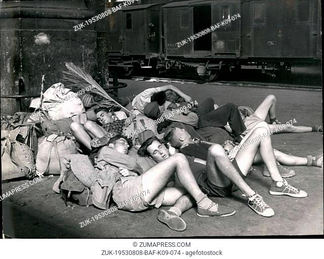 Aug. 08, 1953 - Strikes In Paris: Young Boys Camping before the gare Nord Waiting for the traffic to be rescued. (Credit Image: © Keystone Press Agency/Keystone...