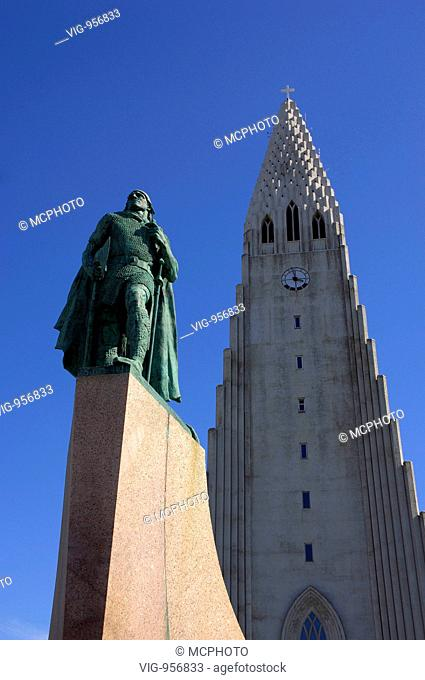 Hallgrimskirkja, the main church of Reykjavik and main city landmark, with the statue of Leif Erikson. Reykjavik, capital of Iceland