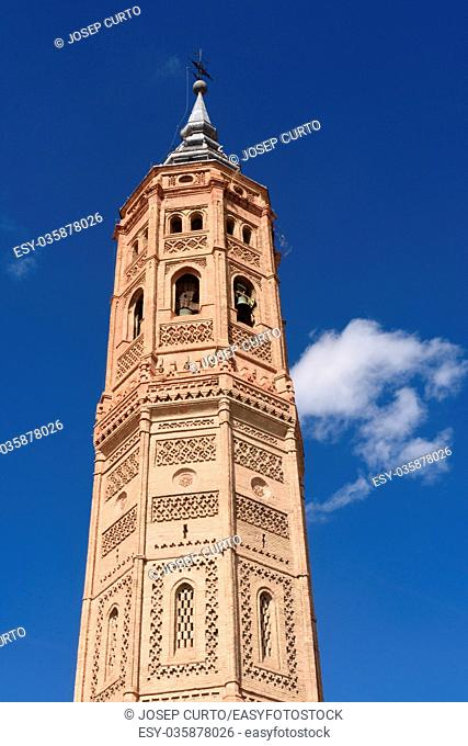 Bell tower of San Andres church (Moorish style). Calatayud, Zaragoza, Aragon, Spain, Europe