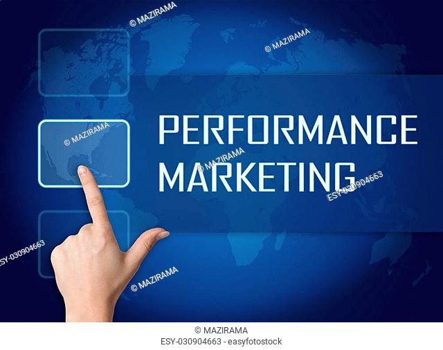 Performance Marketing concept with interface and world map on blue background