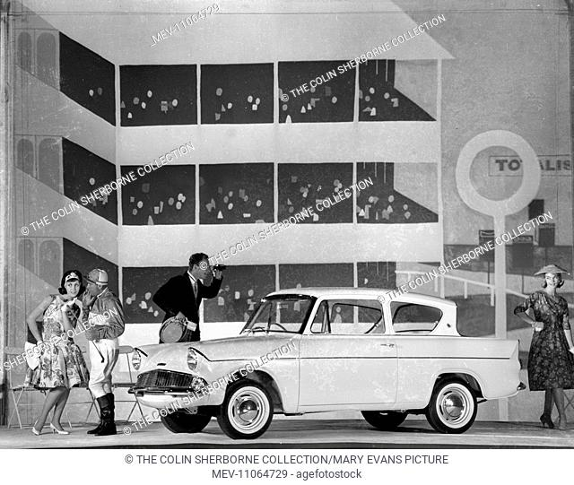 Advertisement for Ford Anglia cars -- male and female models posing (Geraldine Hill, Susan Ingram and Ossie O'Leary)