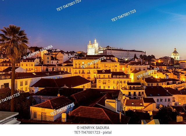 Portugal, Lisbon, Panorama of Lisbon Old Town at sunrise