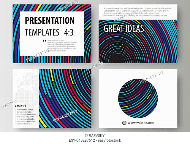 Set of business templates for presentation slides. Easy editable abstract vector layouts in flat design. Blue color background in minimalist style made from...
