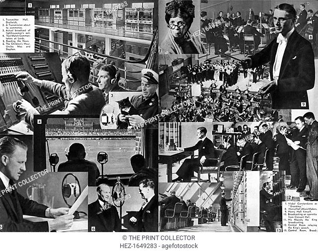 'A visit to the BBC', 1937. Transmitter Hall, Droitwich; a transmission about to commence; actual broadcast of lighthouseman's pet; test match commentators at...