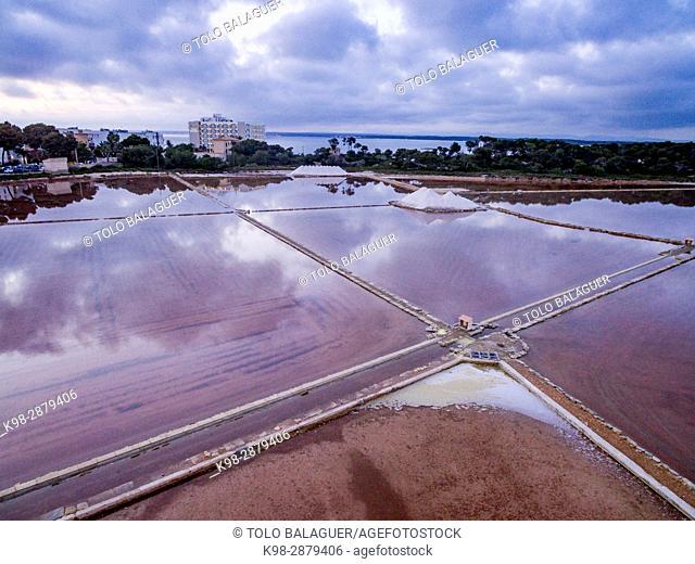 explotacion salinera, Salinas de Sa Vall , segundas más antiguas del mundo (siglo IV a. C. ), Ses Salines, Colonia de San Jordi, mallorca, Spain