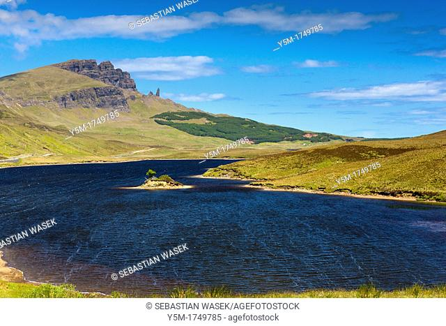 Loch Fada and the Storr and Old Man rock, Isle of Skye, Inner Hebrides, Scotland, United Kingdom, Europe