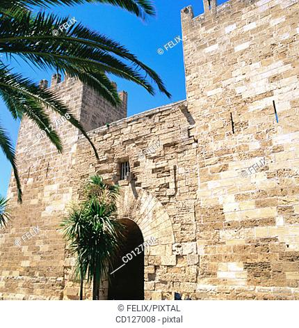 Gate of the old medieval walls. Alcudia. Majorca. Balearic Islands. Spain