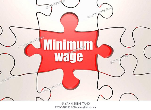 Minimum wage word on jigsaw puzzle, 3D rendering