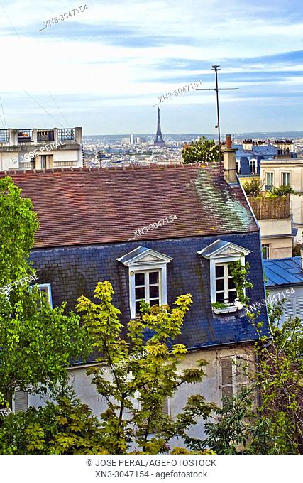 Panorama of Paris from Montmartre, 18th arrondissement, Paris, France, Europe