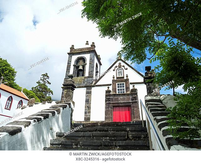 Church Igreja de Santa Barbara in Manadas. Sao Jorge Island, an island in the Azores (Ilhas dos Acores) in the Atlantic ocean