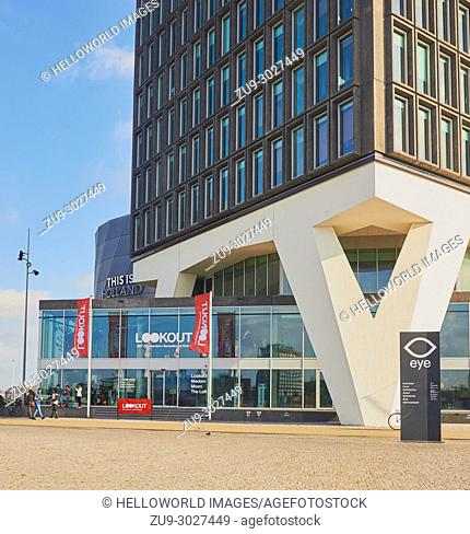 A'dam Toren where the A'dam Lookout observation deck is located, Overhoeks, Amsterdam-Noord, Amsterdam, Netherlands. . Designed in 1966 for Royal Shell by...