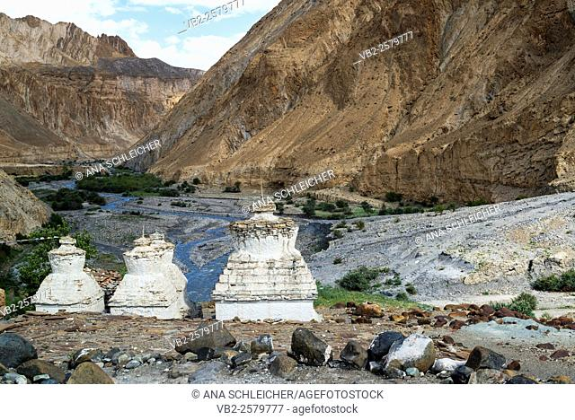 Ancient stupas. Trekking in Markha valley (Laddakh, India)