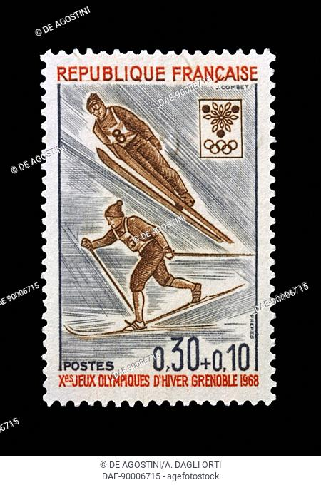 Postage stamp commemorating 10th Olympic Winter Games Grenoble, 1968, depicting Ski jumping and skiing. France, 20th century