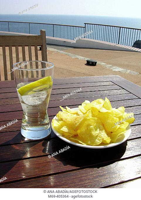 Appetizer by the sea. Cadaqués, Costa Brava, Girona province, Catalonia, Spain