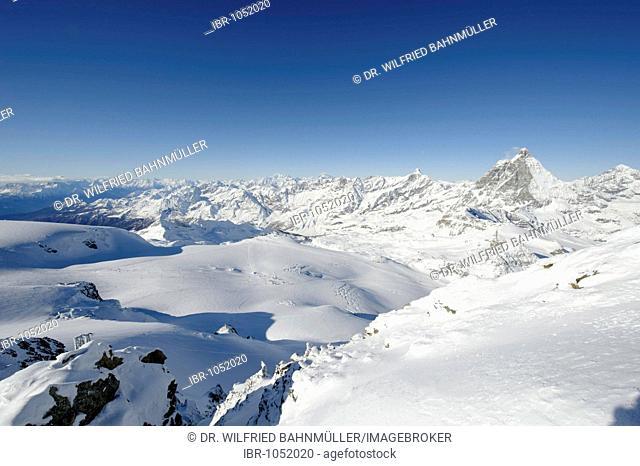 View from the peak of the Klein Matterhorn mountain to the Matterhorn and the Western Alps range with Monc Blanc, Zermatt, Valais, Switzerland, Europe