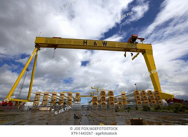 giant harland and wolff crane goliath at shipyard titanic quarter queens island belfast northern ireland uk  The shipyard is currently building large wind...