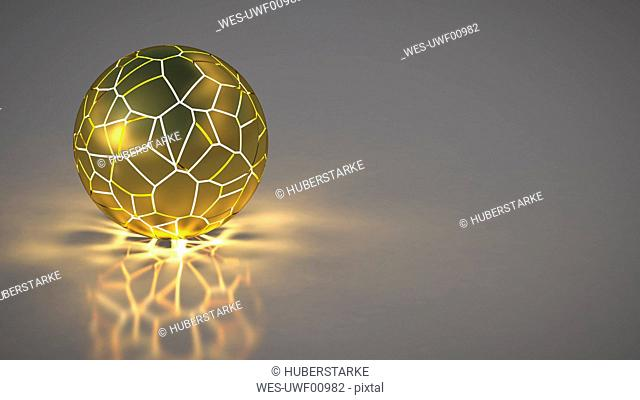 Golden spere with shining network