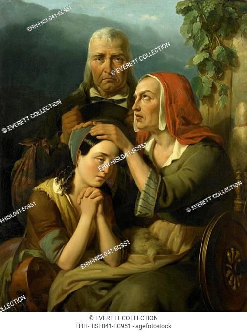 A Mother's Blessing, by Moritz Calisch, 1844, Dutch painting, oil on canvas. Sentimental family group depicting a tearful mother blessing her daughter