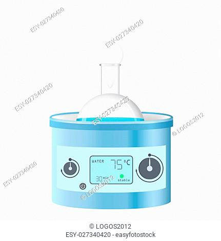 Water bath on table, boiling chemical lab equipment, 3d raster