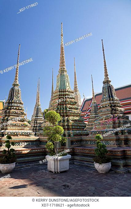 Collection of ornate stupas, Wat Pho, Ko Ratanakosin, Bangkok, Thailand