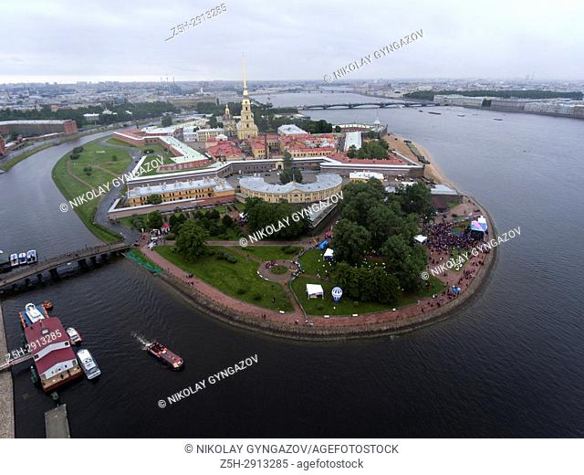 The monument of history The Peter and Paul Fortress from a bird's-eye view. Saint Petersburg. Russia